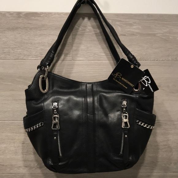 b. makowsky Bags   B Makowsky Black Leather Bag W Silver Hardware ... 2ce95b387e
